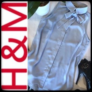H&M SLEEVELESS BUTTON DOWN TIE-NECK BLOUSE